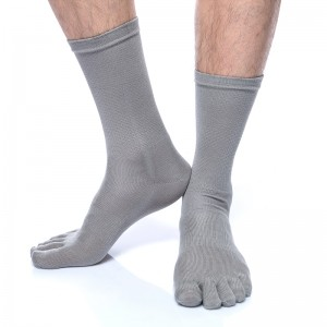 Fimage有致501010 100%绢丝透气抗菌防臭五趾袜 无指袜男士中统绢丝五趾袜