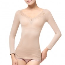 fimage有致103008 V领蕾丝塑身长袖美体长袖打底衫